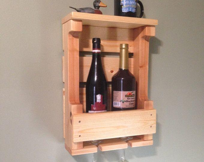 Palette Wein-Rack, an der Wand befestigte Weinregal, Holz Weinregal