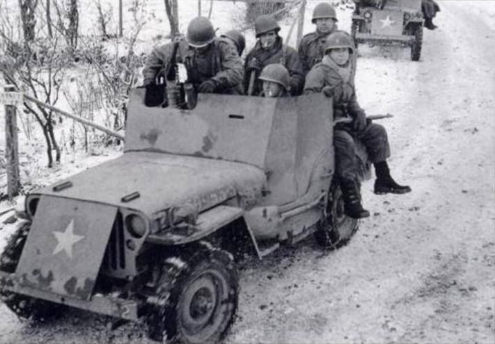 Armored reconnaissance jeep of US 82nd Airborne Division Ardennes Forest Belgium December 1944.