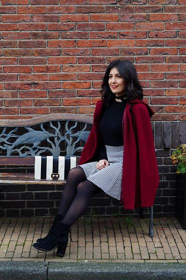 Get this look: http://lb.nu/look/8570737  More looks by Ioanna T.: http://lb.nu/thecolourfulbouquet  Items in this look:  United Colors Of Benetton Woolen Blouse, Lynne Pied De Poule Skirt, Calzedonia Black Tights, Manfield Suede Ankle Boots, Accessorize Striped Bag   #chic #elegant #fashion #fashionblogger #petiteblogger #petitefashionblogger #style #streetstyle