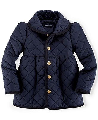 Ralph Lauren Toddler Girls' Quilted Shawl Collar Jacket - Kids - Macy's