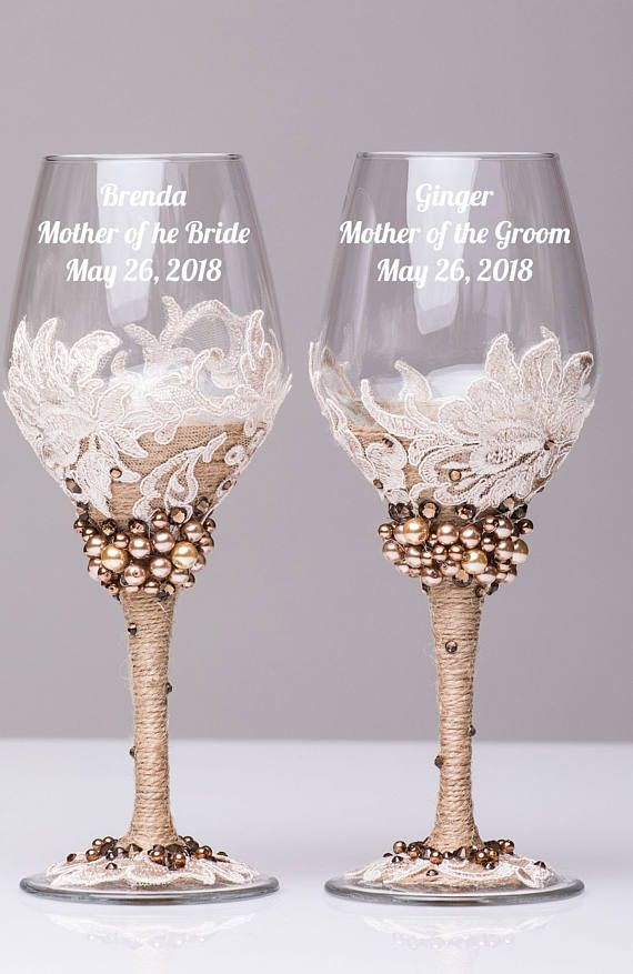 wedding wine glasses beige and brown, set of 2 glasses, wedding wine ...