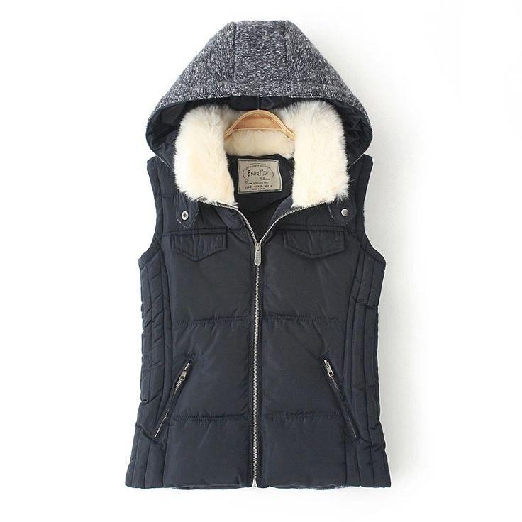 Black Hooded Zipper Down Vest