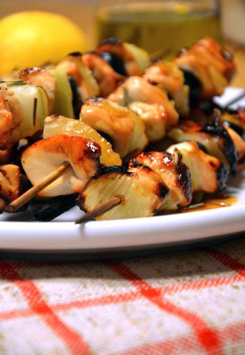 Spiedini di pollo e finocchi glassati al miele e limone    CHICKEN AND FENNEL SKEWERS