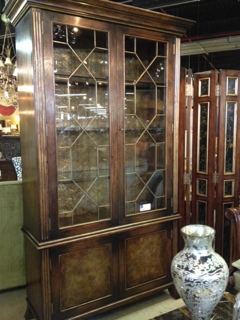 John Richard Antique Walnut Lambris Cabinet with gold ...
