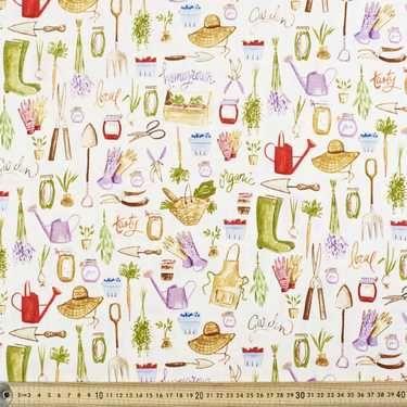 Homegrown Garden Fabric Cream 112 cm