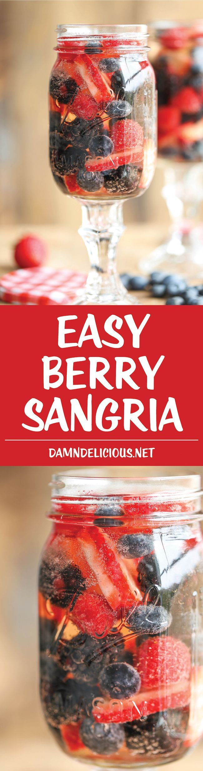 Easy Berry Sangria - So easy and refreshing, chockfull of strawberries, raspberries, blackberries and blueberries. And all you need is just 5 min prep!