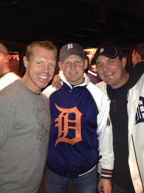 Former Detroit Red Wings' Kris Draper,Chris Osgood and Darren McCarty attending events around Comerica Park before a Detroit Tigers game in Downtown Detroit