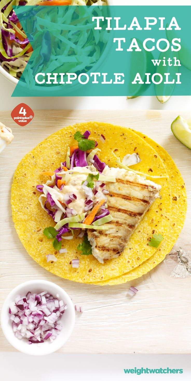 4 WW points. As super easy to make marinade and spicy aioli transform basic tilapia into delicious fish tacos. Get the recipe by clicking on the picture!
