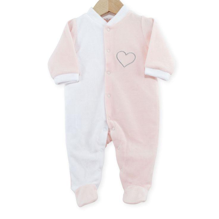 "Pyjama naissance en velours blanc/rose ""Coeur"" #Pyjama #naissance #leskinousses"