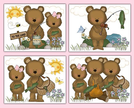FISHING TEDDY BEAR Print Wall Art Baby Girl Woodland Animal Nursery Kids Hunting Room Childrens Forest Friends Creatures Bedroom Decor