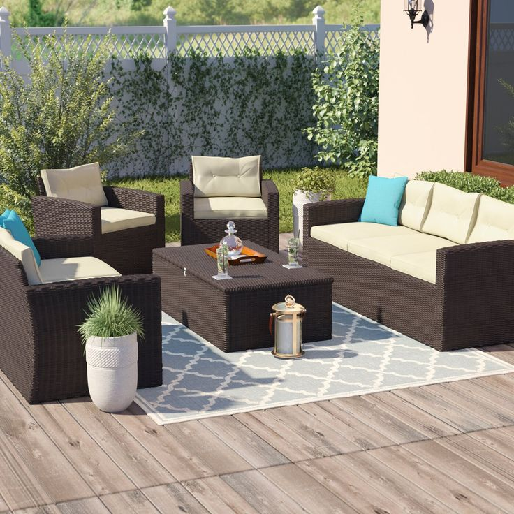 Arlington 5 Piece Rattan Sofa Seating Group with Cushions