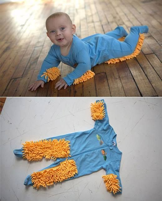 Top 5 reasons you NEED a baby mop:  1. Teach your baby a strong work ethic early on in their life.  2. Your baby will learn not to drop and waste food.  3. Baby will get a nice workout, burn off energy, and do muscle toning. And sleep better too!  4. Not having to clean your floors saves you time so you can spend it doing things you enjoy.  5. Save lots of money on house cleaning costs.