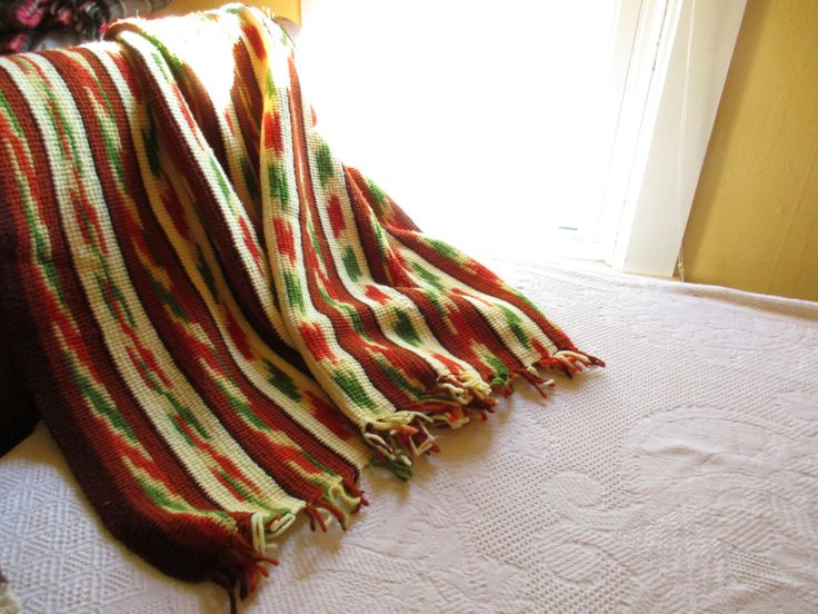Multi-color Knit Afghan Throw - With Fringe - Warm Afghan - Synthetic - Throw With Unique Color and Pattern - Mix and Match by AllVintageFabrics on Etsy