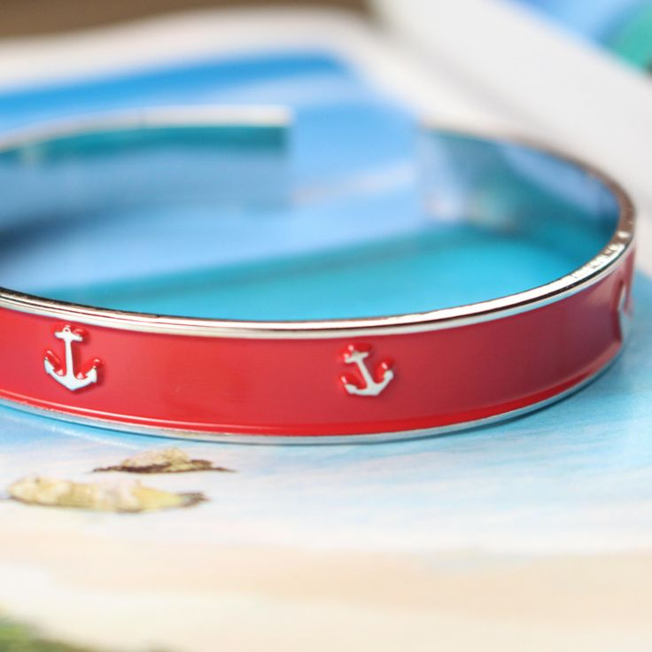 Nautical candy apple red Anchor bracelet made by The Collegiate Standard. $19