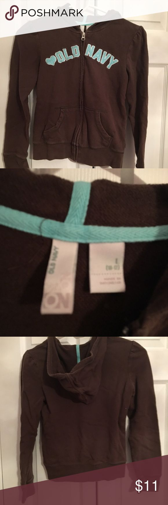 OLD MAVY LOGO ZIP-UP HOODIE Brown Old Navy zip up hoodies with a white blue and white polka dot logo. $11 or best offer. Old Navy Shirts & Tops Sweatshirts & Hoodies