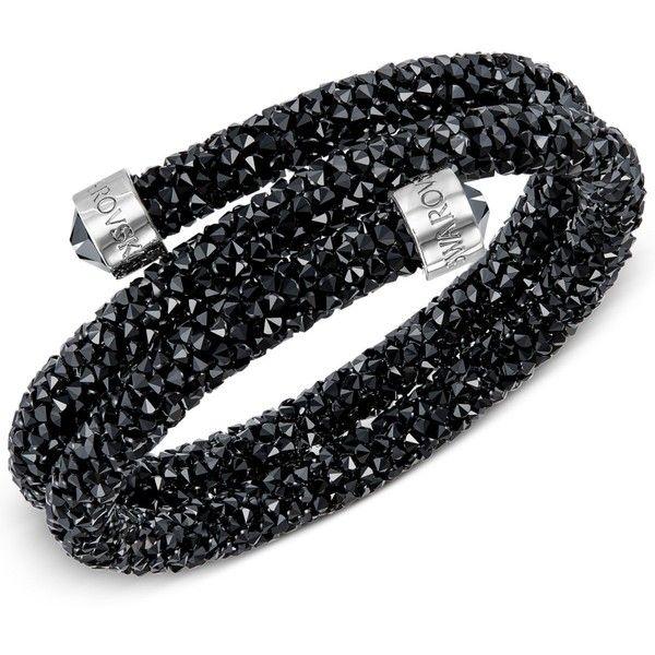 Swarovski Crystaldust Wrap Bracelet ($89) ❤ liked on Polyvore featuring jewelry, bracelets, black, swarovski jewelry, swarovski jewellery, wrap bracelet and swarovski bangle