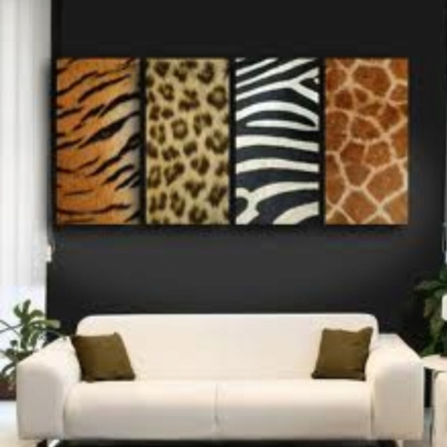 White Couch And Animal Print Living Room