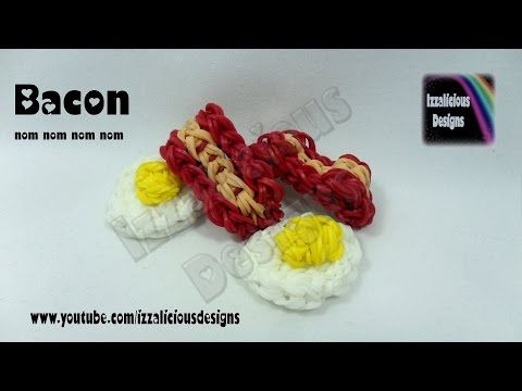 Rainbow Loom - 3D BACON Charm. Designed and loomed by Kate Schultz at Izzalicious Designs. Click photo for YouTube tutorial. 08/26/14.