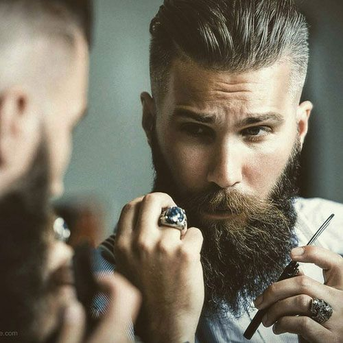 Fade with Textured Slick Back and Beard - How To Grow A Full Beard
