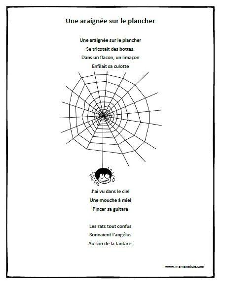 Chansons - Prescolaire - Une araignée sur le plancher - Fichier .pdf à imprimer