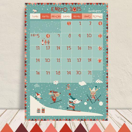 Calendario enero 2015 Decohappy Producto descargable gratis http://www.decohappy.com/producto/calendario-enero-2015-decohappy/
