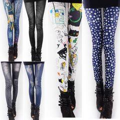 Весна корейской моды прилив был тонкий карандаш брюки колготки бесшовные Denim тонкий наружный носить леггинсы женские брюки