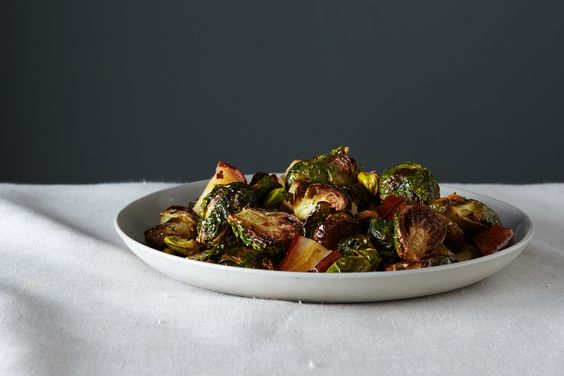 Roasted Brussels Sprouts with Pears and Pistachios, a recipe on Food52