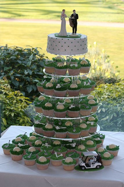 Golf Theme Wedding Cupcake Tower | @Stacie Rombach Mike might like this!