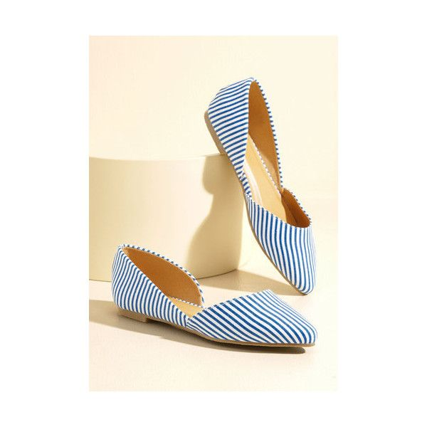 Nautical Step the Record Straight Vegan Flat ($35) ❤ liked on Polyvore featuring shoes, flats, ballet flat, blue, flat, flat pump shoes, ballerina pumps, vegan ballet flats, vegan flats and flat shoes
