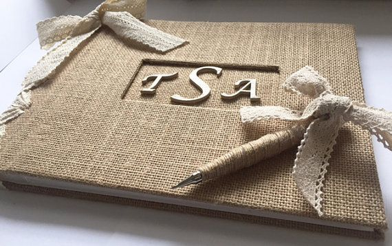 Rustic Burlap and Lace Guestbook w/Pen by MichelleWorldesigns