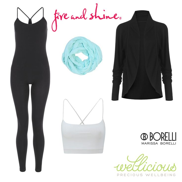 Available for purchase on the Fire and Shine website.  Wellicious Catsuit $169.95, Borelli Active Performance Scarf - Sea Glass $59.00, Wellicious Moonlight Shrug $199.95, Wellicious Nice cropped tank - Diamond White $84.95. #fireandshine #ethical #wellicious #borelli #yoga #fashion #activewear #loungewear #barre #hiit #circuit #getthelook #style