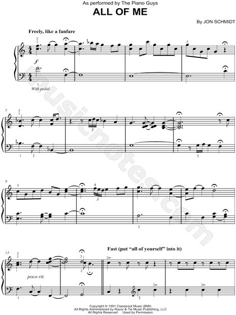 Print and download sheet music for All of Me by The Piano Guys. Sheet music arranged for Easy Piano in C Major.