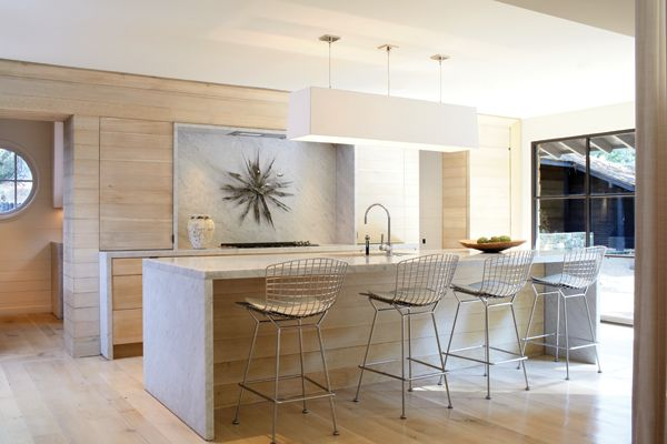 Clean stainless steel surfaces, Italian Carrara marble (from Triton Stone, fabricated by Birmingham Marble Works), and the bleached white oak - Betsy Brown