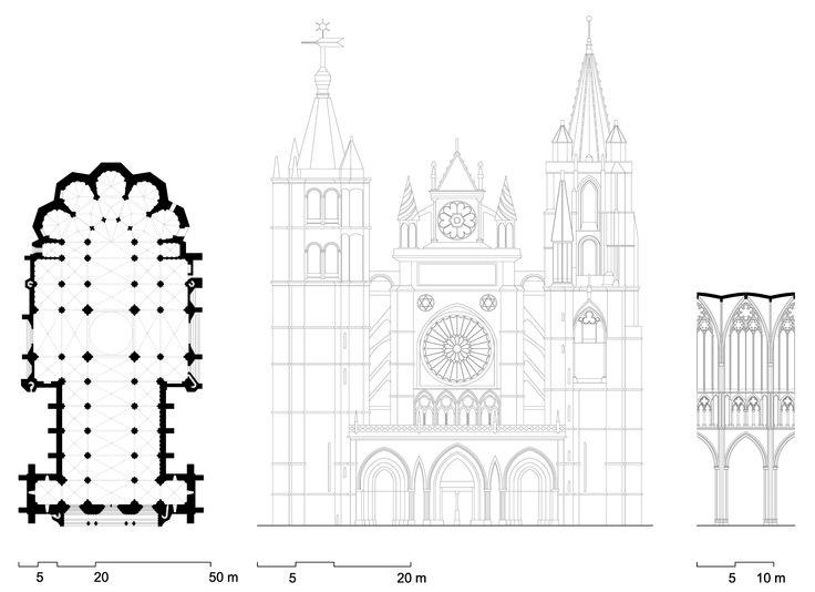 Planta, alzado y corte interior de la catedral de León