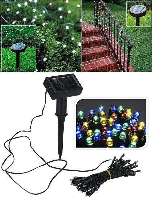 Napelemes, színes LED lámpa füzér fényérzékelővel. Az 50 db-os LED füzér különlegessé tudja varázsolni a bokrokat, fákat, sövényeket. Kiteheted az...
