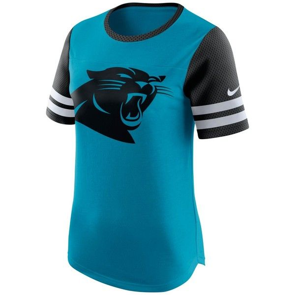 Nike Women's Carolina Panthers Gear Up Fan Top T-Shirt ($45) ❤ liked on Polyvore featuring tops, t-shirts, blue, nike t shirts, nfl tees, carolina panthers t shirt, colorful t shirts and nike