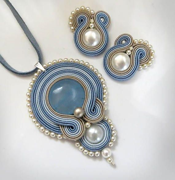 Pastel blue beige pearl soutache jewelry set earrings and