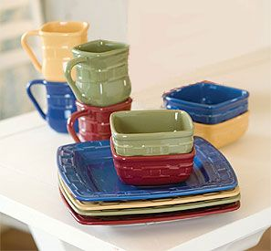you can mix and match with all 4 colors or pick 1 color great options to match any traditions soft square dinnerware set four