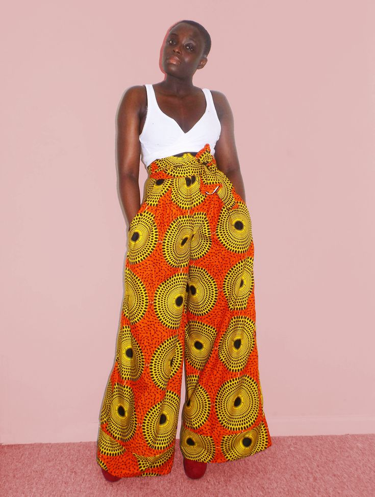 African print palazzo trousers Wide leg pants | African ...