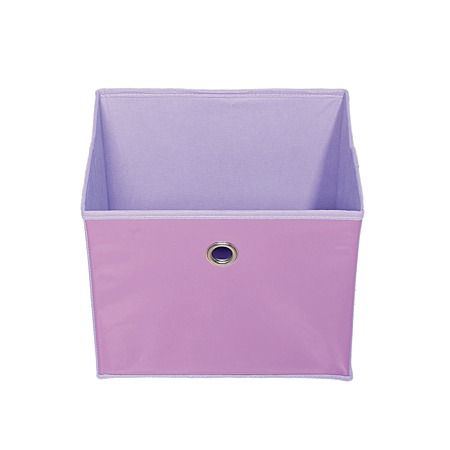 PVC storage box for mini bookcase, from the Warehouse.  Extremely affordable. Lots of colours. Precisely sized for ubiquitous (and also cheap) mini bookcases. Durable PVC front. Practical square shape. Essential for children's toys, pet toys, hiding game controllers in the living room, tidying the laundry...