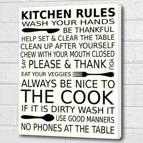 Kitchen Rules Wall Art Box Canvas   White   A3 12x16 Inch Cheryl Monaghan  Http: