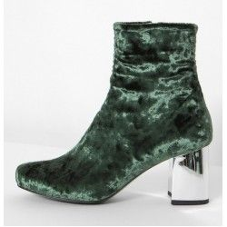 Green Olive Velvet Suede Blunt Head Silver High Heels Ankle Boots Shoes
