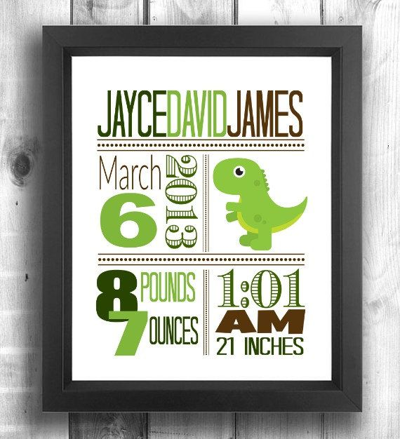 Check out this item in my Etsy shop https://www.etsy.com/ca/listing/271216602/dinosaur-nursery-wall-art-dinosaur-birth