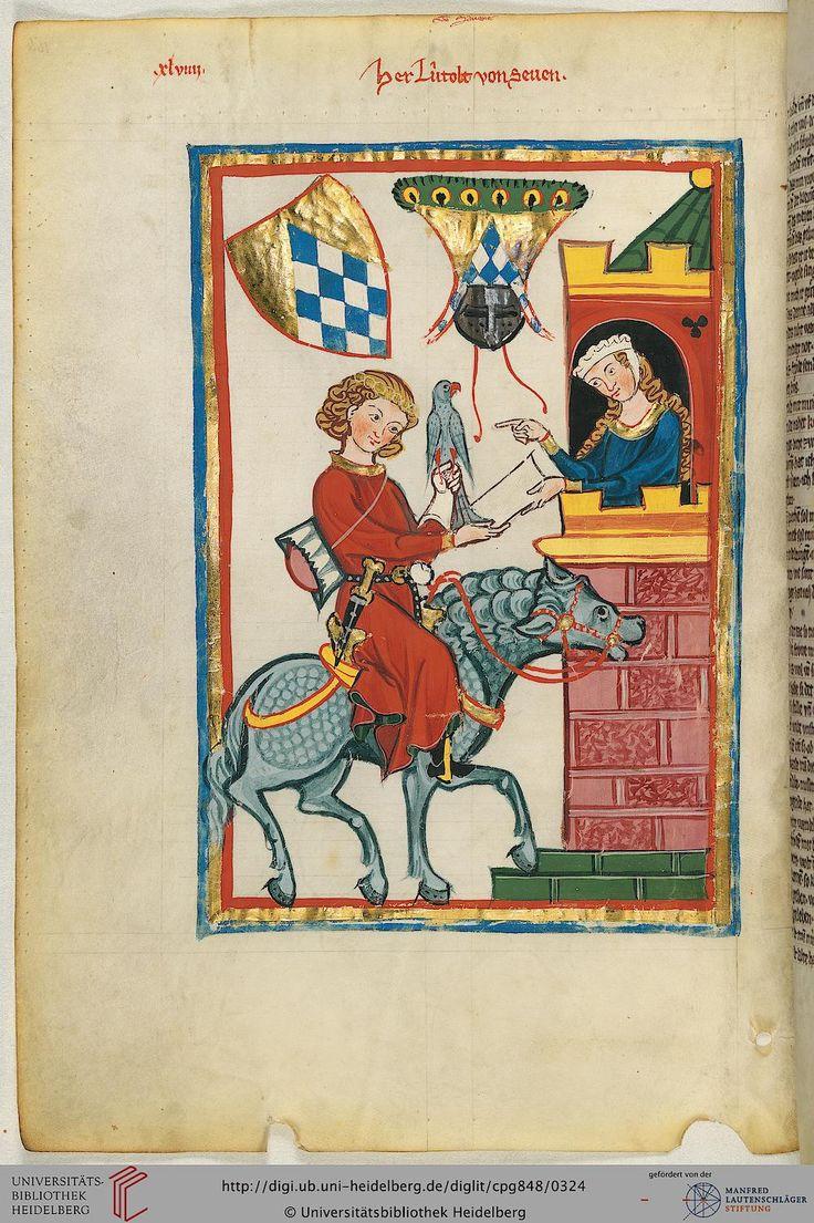Der hier zu Pferde dargestellte Minnesänger ist der aus der Steiermark stammende Leuthold von Saven (nicht von Seven); er war in Safen, dem heutigen Safenau, nordöstlich von Graz beheimatet. Er begleitete vermutlich Herzog Leopold VI. von Österreich im Jahr 1218 auf seinem Zug nach Ägypten.
