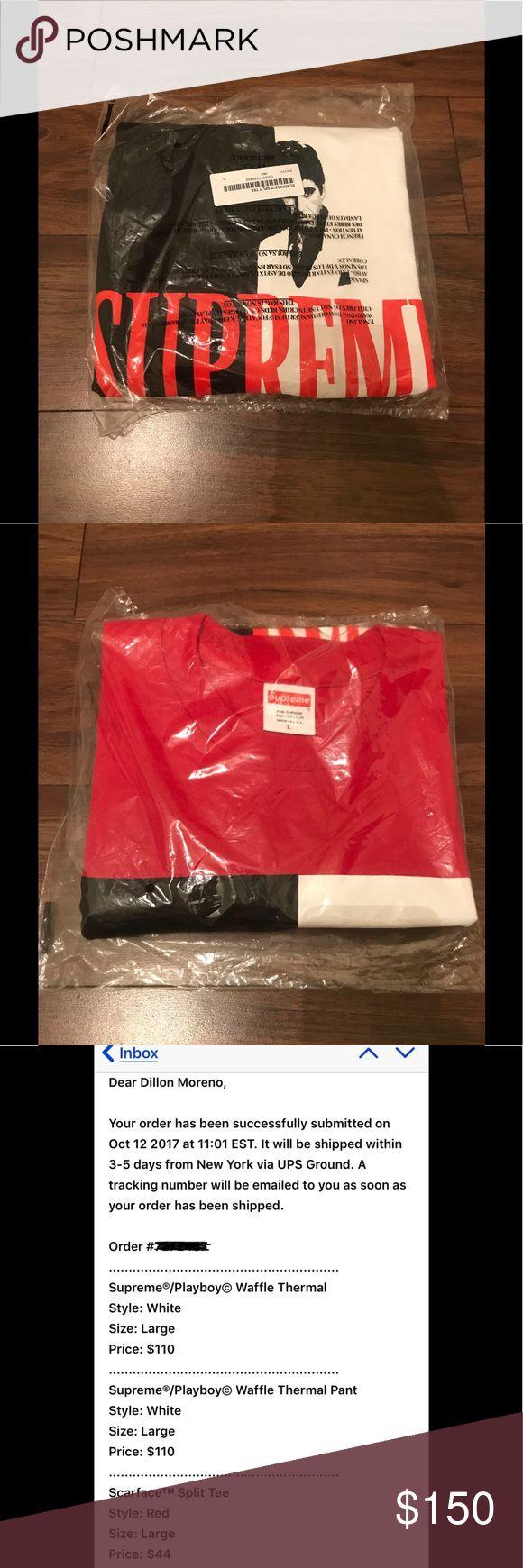 Supreme x Scarface Split Tee Brand New Supreme x Scarface Split Tee in Size Large! Never Opened the Bag! DeadStock AF! Fall/Winter 2017, Week 8 Release. Supreme Shirts