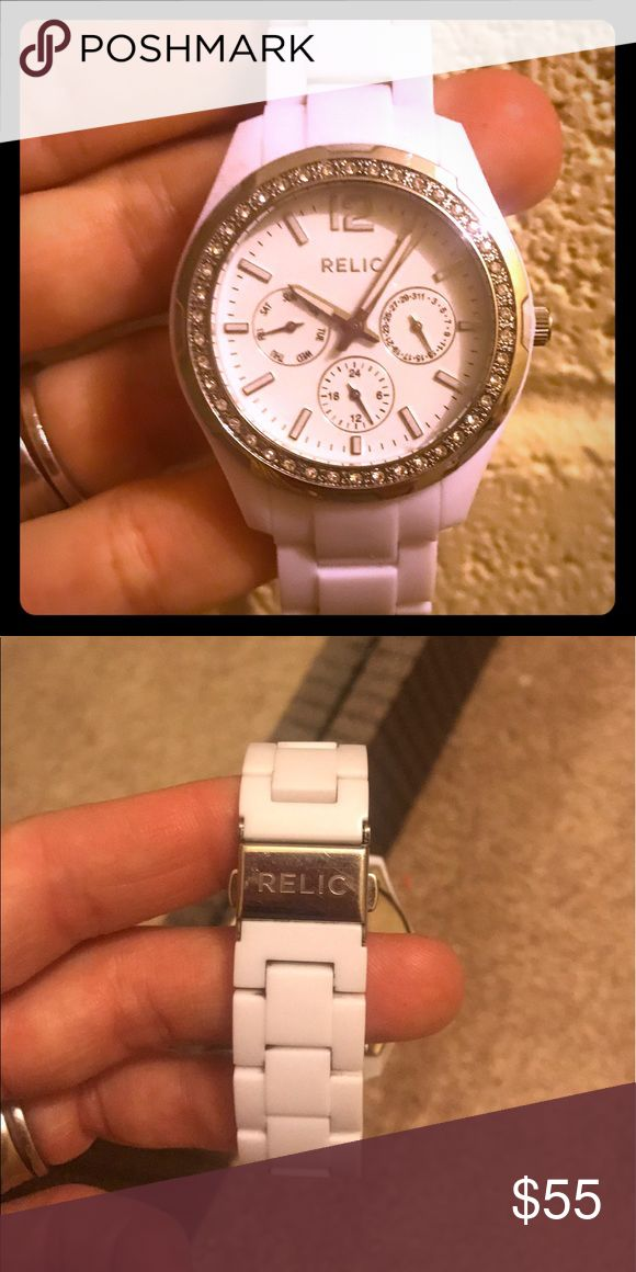 White Ceramic &crystal encircled face Relic watch Barely worn Relic Accessories Watches