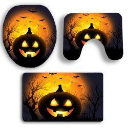 Halloween Pumpkin Withered Tree Printed 3Pcs Bathroom Mats Set - BLACK AND ORANGE Mobile