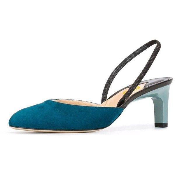 FSJ Women Fashion Almond Toe Mid Heels Sling back Sandals Dress pumps... ($50) ❤ liked on Polyvore featuring shoes, wide slingback shoes, wide width slingback shoes, wide width shoes, wide fit shoes and mid heel slingback shoes