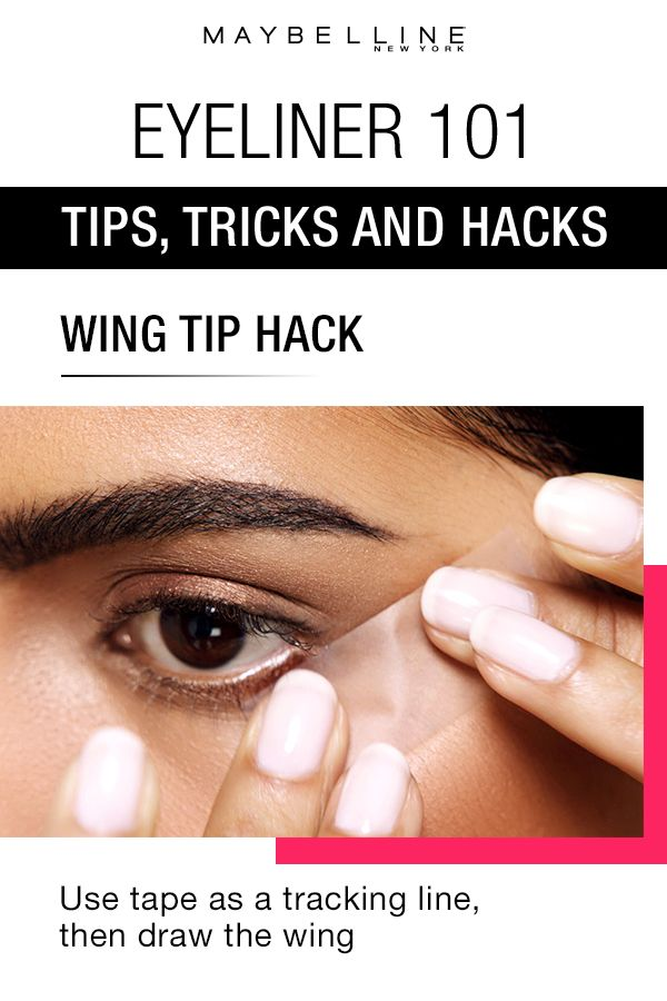 Insider makeup tips only get you so far – choosing the right product is what really takes you to the next level. This eyeliner hack shows you how to get the perfect wing tip using tape. Click through for more eyeliner makeup 101 tips, tricks and hacks for beauty beginners.