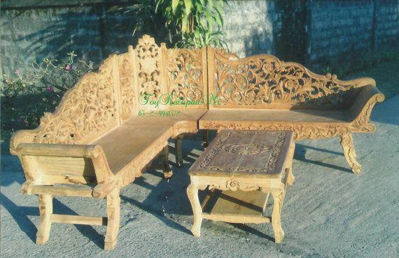 Corner Sala Set Intricate San Vicente Wood Carving by ToyKalapawMi, $2000.00